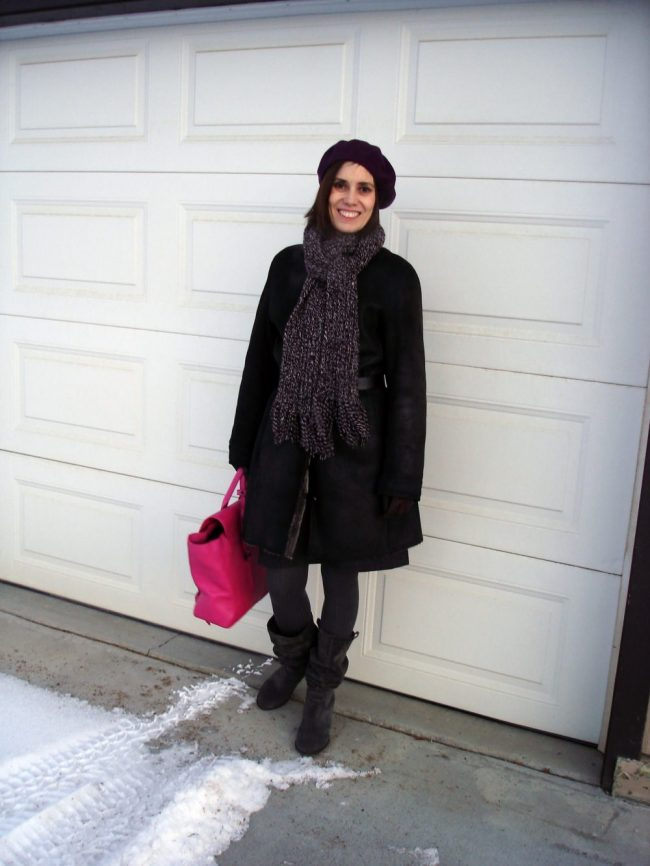 fashion blogger in burgundy, gray pink outerwear of beret, shearling, scarf, tights, boots and bag
