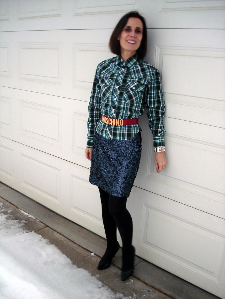 #styleover50 woman wearing a sequin skirt with plaid for a posh eclectic look