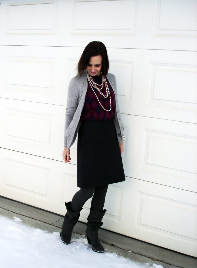 winter work outfit with faux twinset