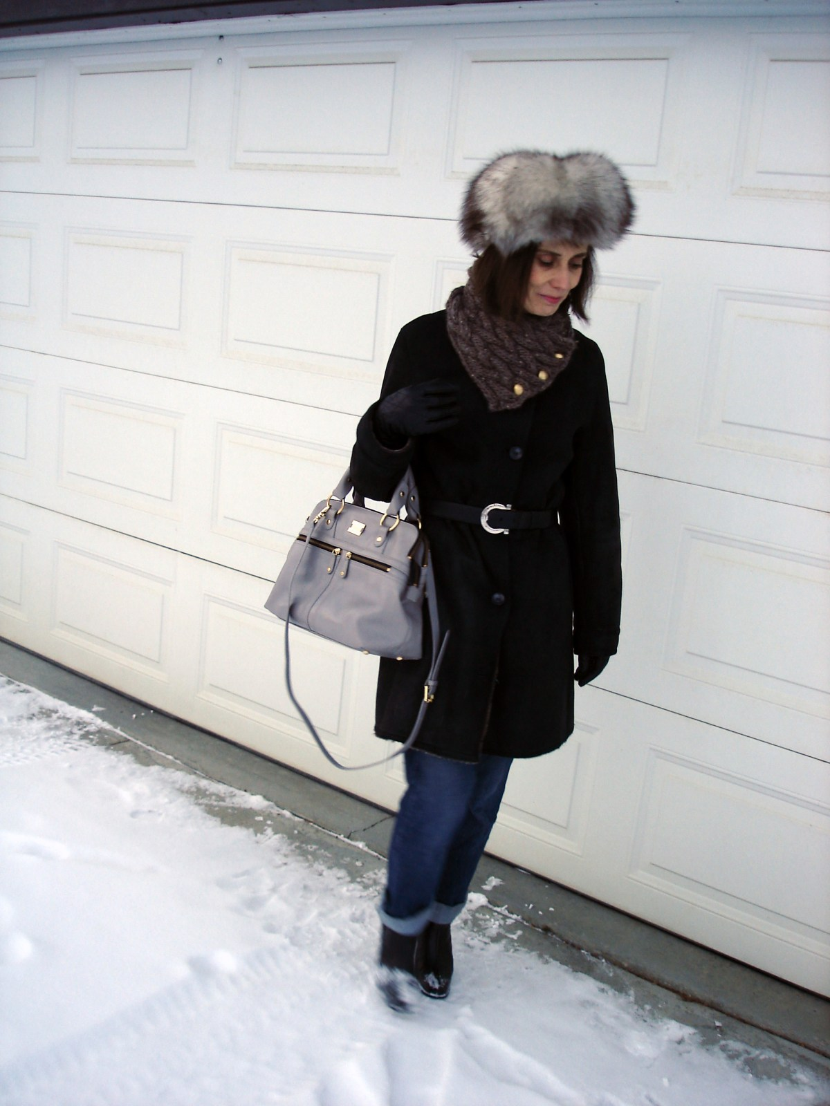 #over40fashion posh winter outerwear with Russian hat