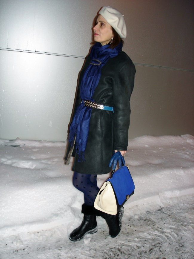 #fashionover40 Winter look in blue white and black at http://www.highlatitudestyle.com