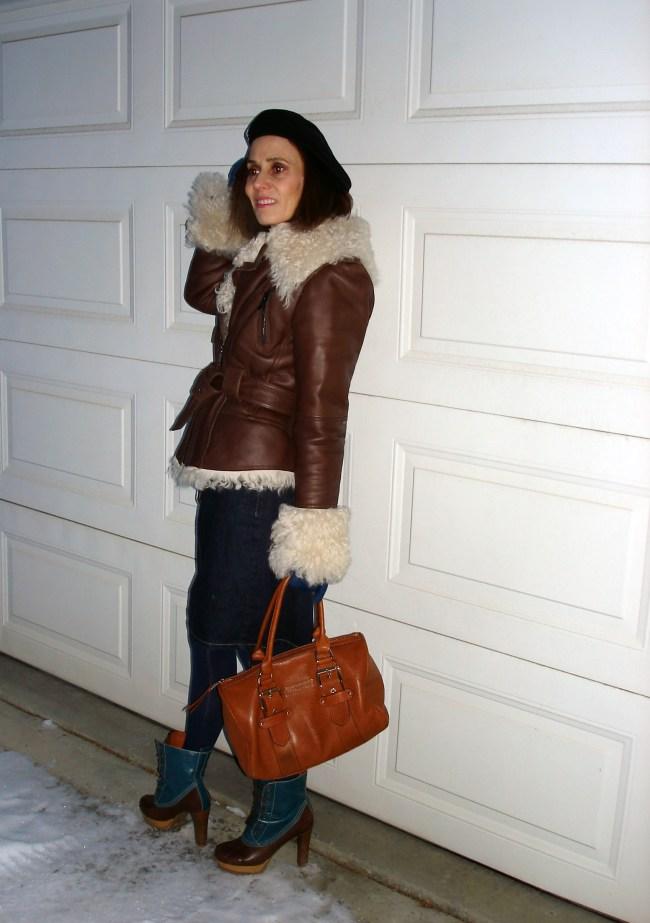 #fashionover50 Shearling motorcycle jacket with denims skirt