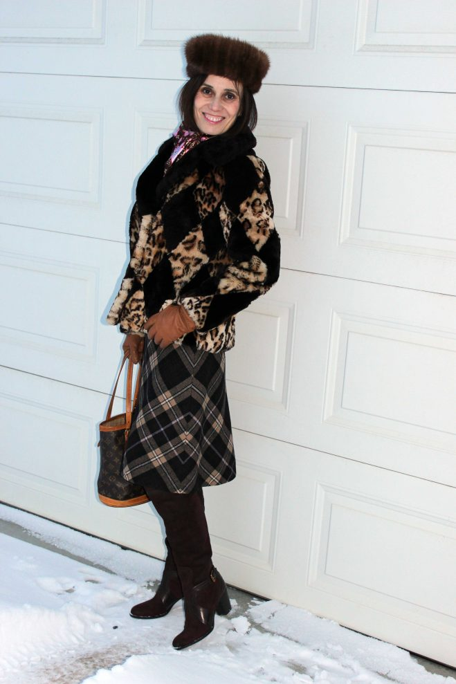 style book author in diamond and plaid pattern eclectic look