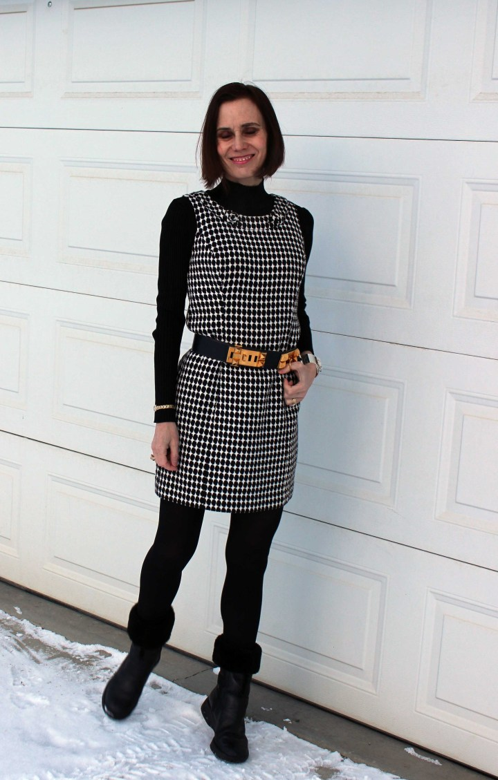 sheath dress styled with layering for the office