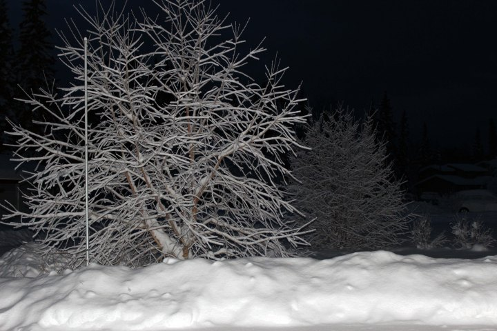 photo of snow reflecting the light lightening the darkness