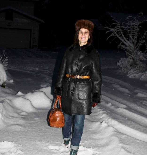 #over40 Shearling coat with hat | High Latitude Style | http://www.highlatitudestyle.com