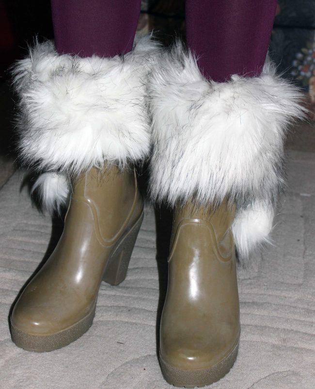 rain boots after adding faux fur