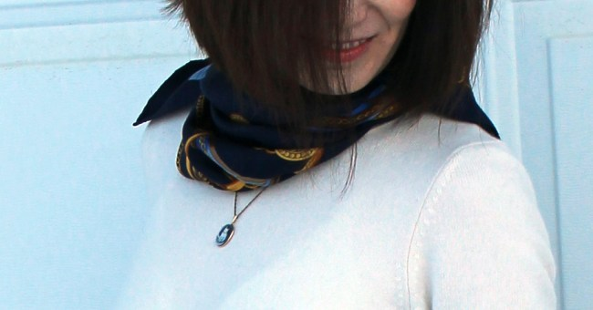 details of scarf and necklace
