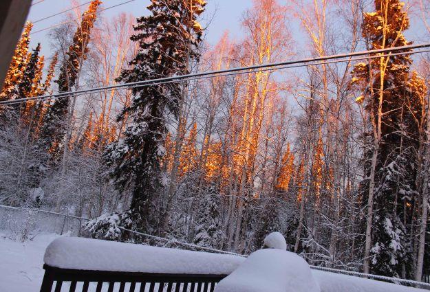 Alaska's blush pink winter skies