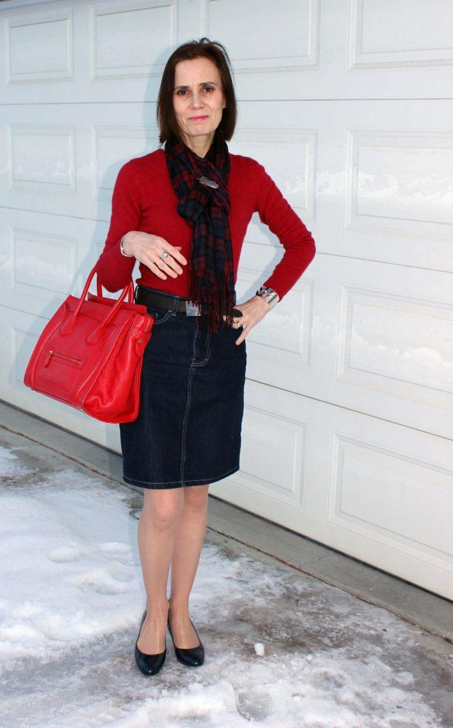 nicole wearing a denim skirt like a pro