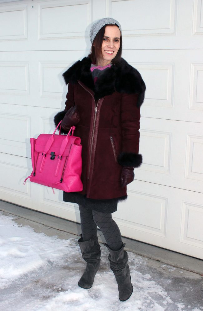 Winter outerwear outfit with shearling motorcycle coat