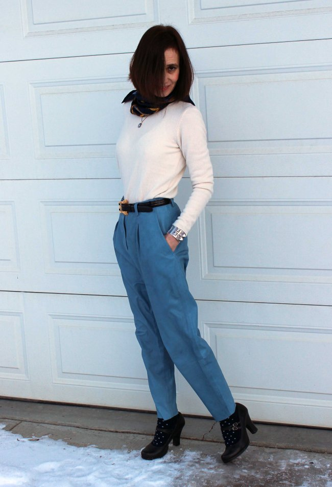 #fashionover50 Mature women in winter office outfit with leather pants