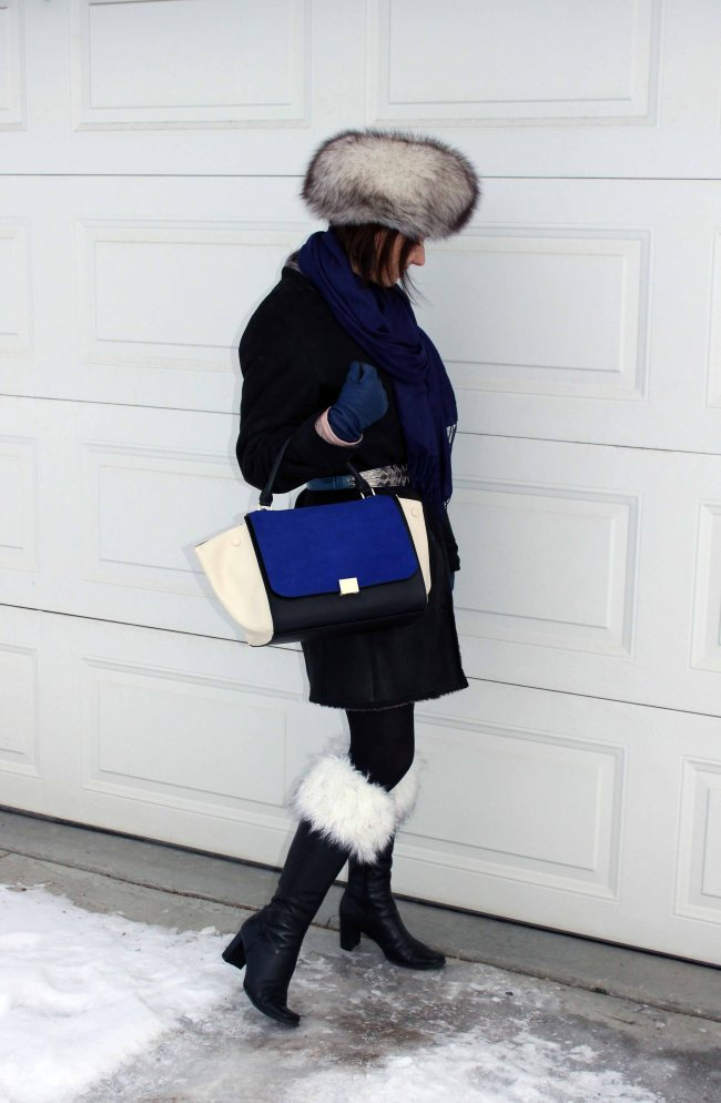Stylish winter outfit with boot toppers