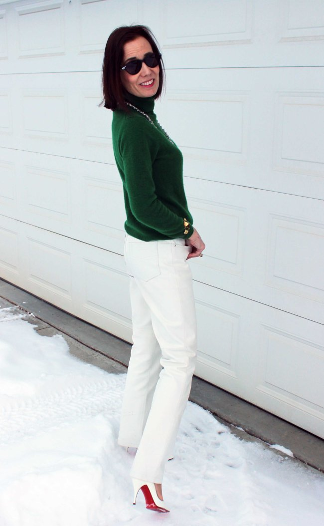 #Maturestyle women looking posh chic in a winter office look with green turtleneck sweater