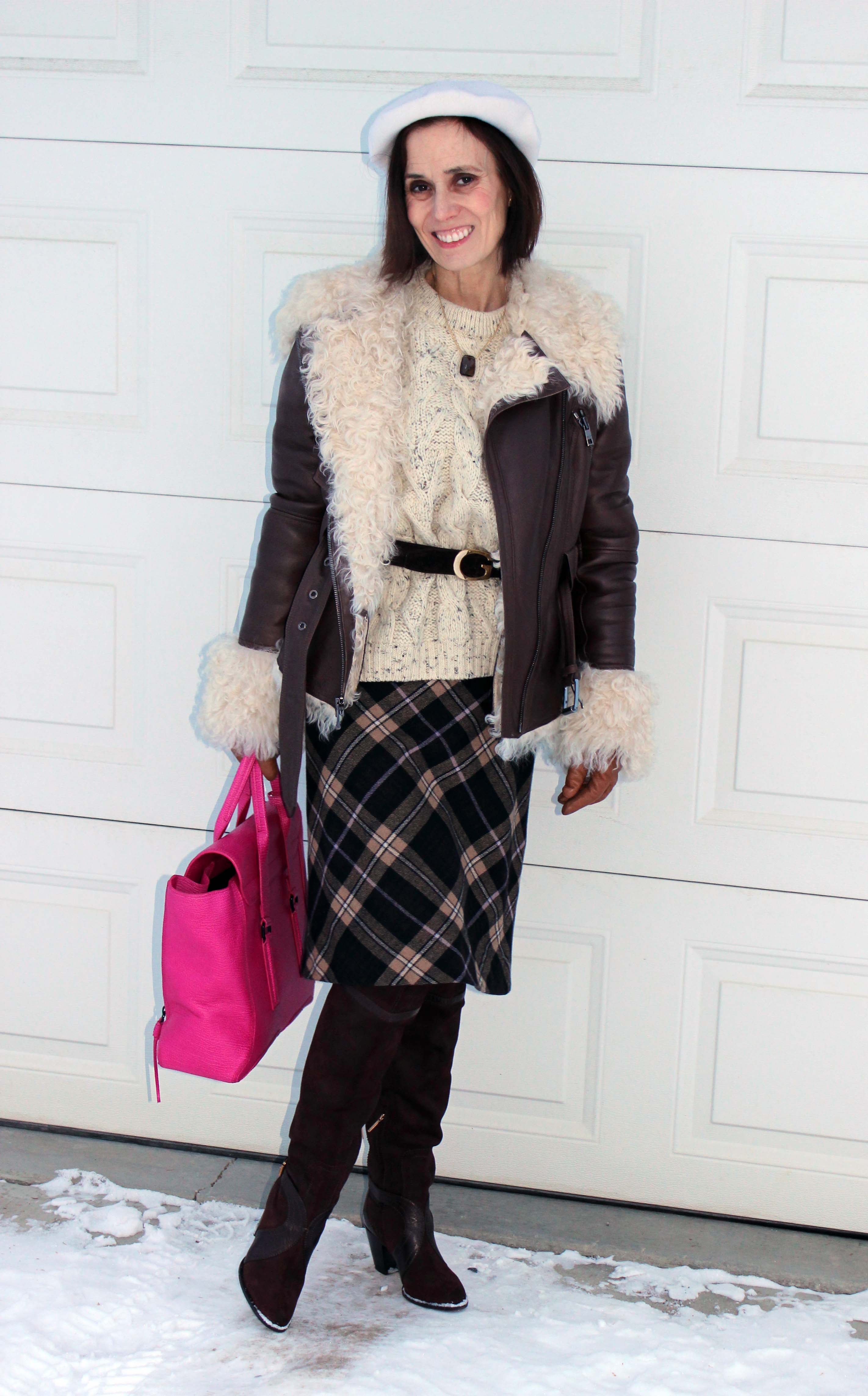 #over40fashion #fashionover50 How to style over-the-knee boots: example casual with skirt look in the weekly Ageless Style series @ High Latitude Style @ http://www.highlatitudestyle.com