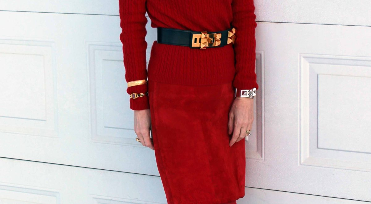 #styleover50 Alaskan woman looking chic in a monochromatic red outfit
