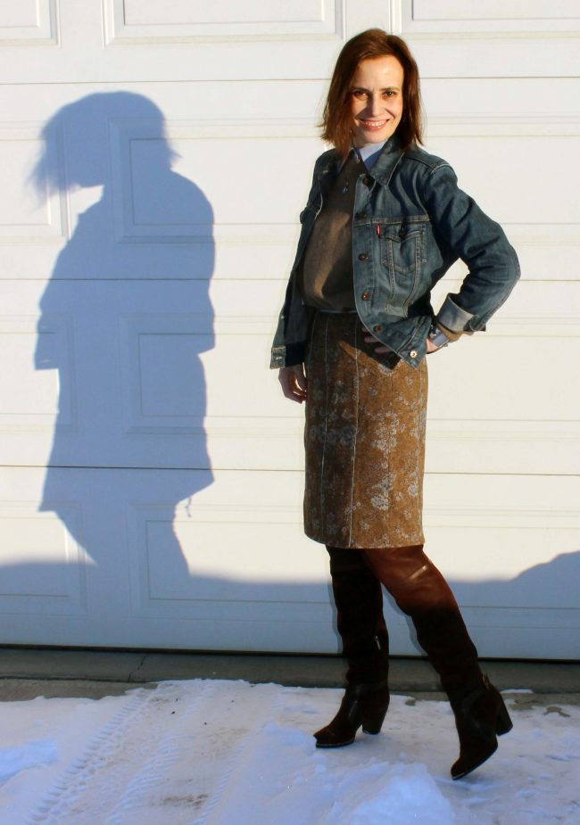 over 50 years old fashion blogger with knee-length tweed skirt, denim jacket sweater, shirt and OTK boots over-the-knee boots