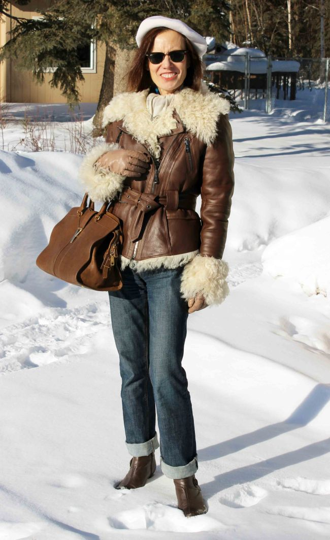 fashion over 40 woman in shearling motorcycle jacket and BF jeans