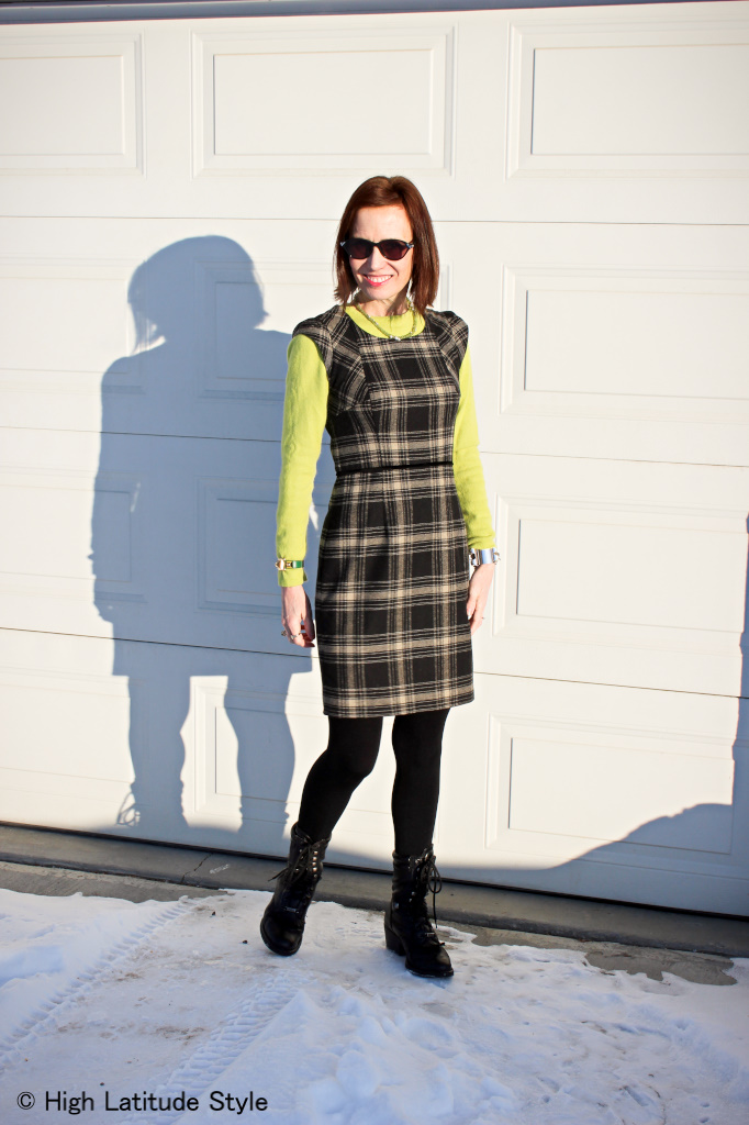 #advancedfashion fashion blogger over 50 using spring color inspiration for a work outfit with green sweater