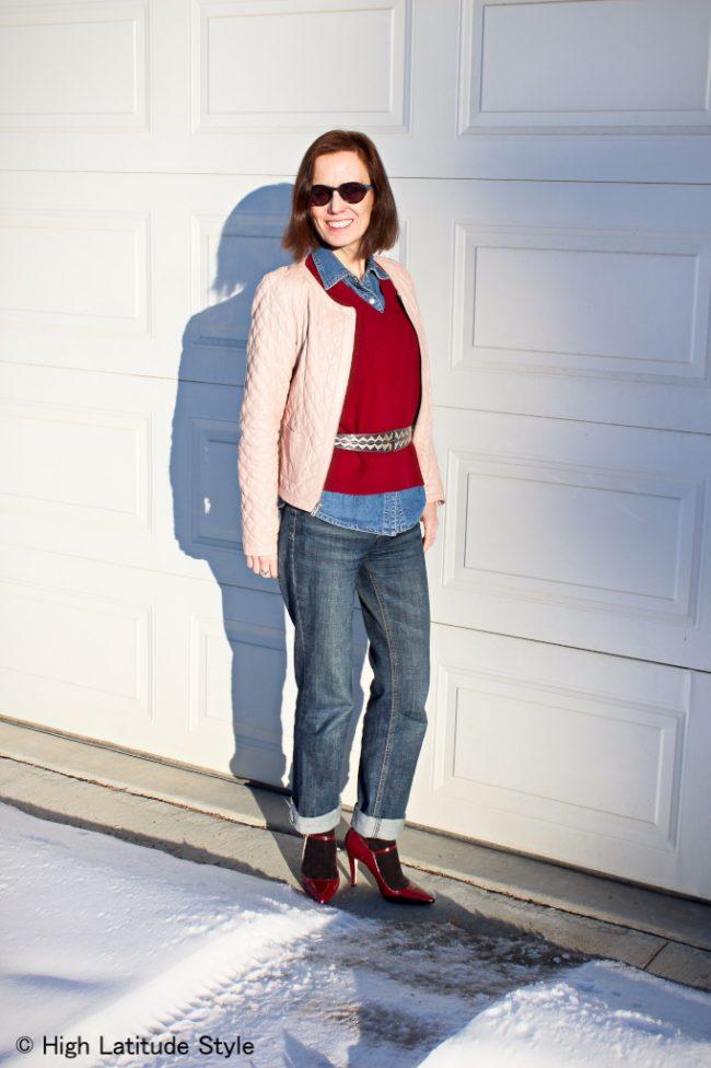 style blogger in boyfriend jeans, pumps with socks, denim shirt