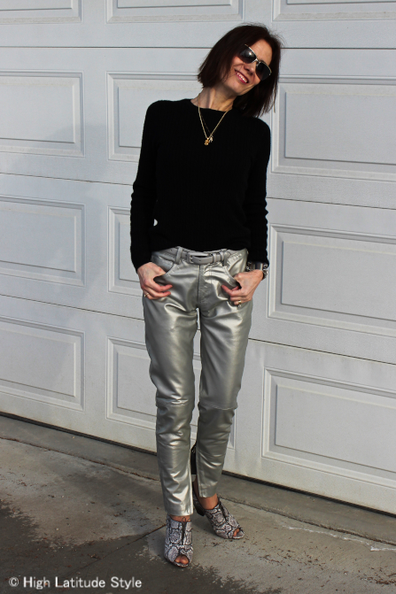#styleover40 spring trend shine: silver leather pants
