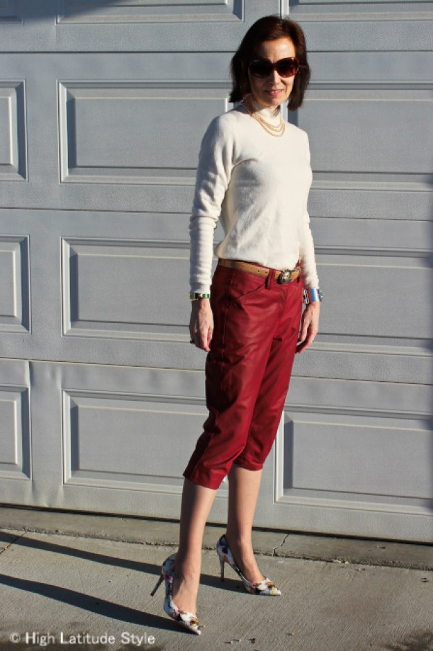 style blogger in winter office look with red leather pants and floral pumps