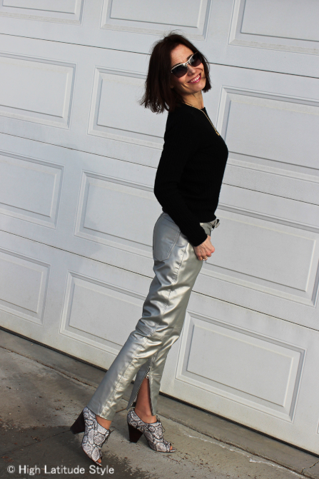 midlife woman in silver leather pants