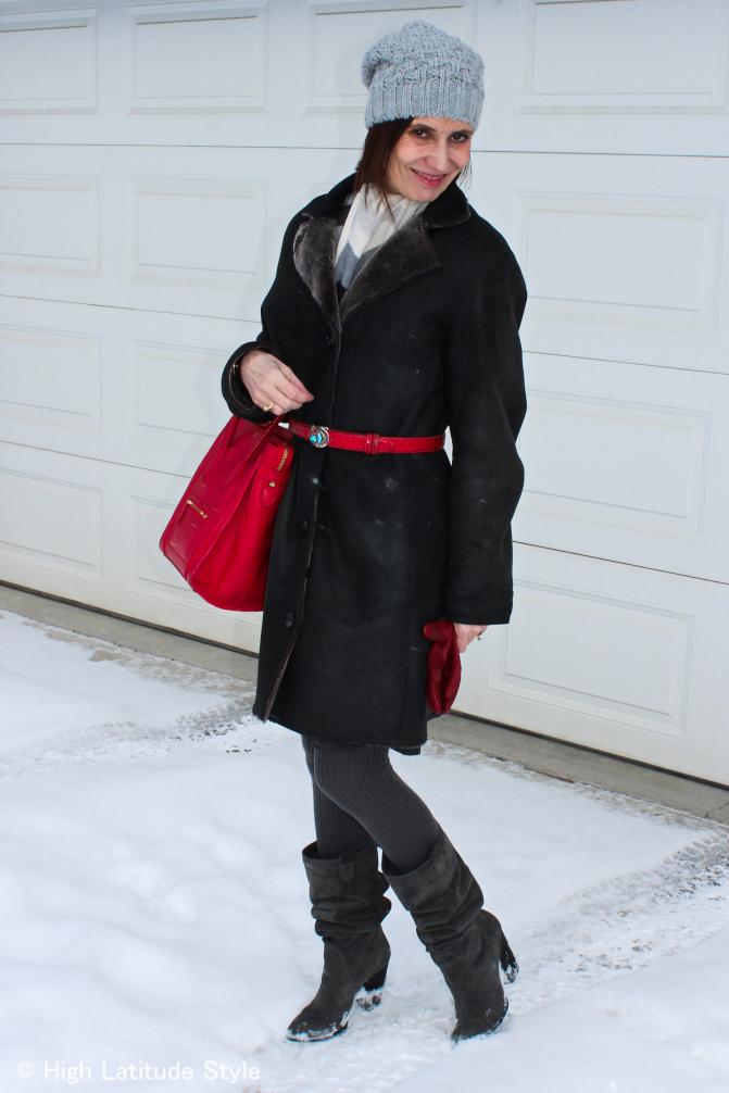 #CelineBag mature woman with red Celine bag