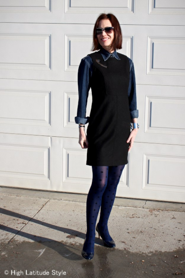 #maturefashion women styling a LBD for work