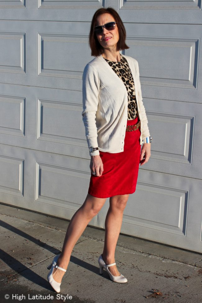 fashion blogger in skirt with two jackets
