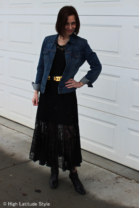 influencer in maxi lace dress with denim jacket