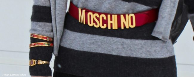 Moschino belt, Seiko watch, and Hermes enamel arm party (all own)