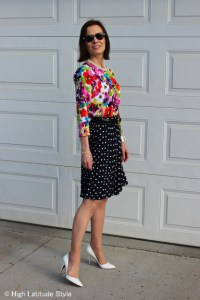 floral cardigan with polka dot pleated skirt and white pumps http://www.highlatitudestyle.com