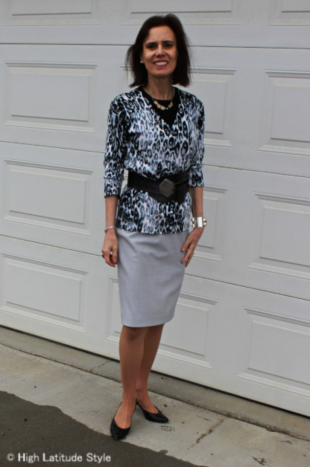 midlife style blogger in Euro Chic snow leopard cardigan, pencil skirt, pumps