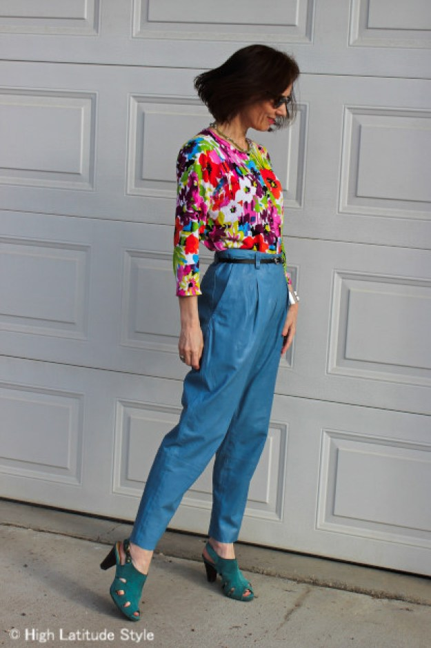 #fashionover50 Floral top with leather pants