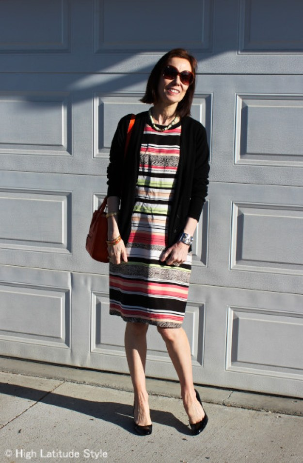 #fashionover40 mature woman in work outfit with wedge heels