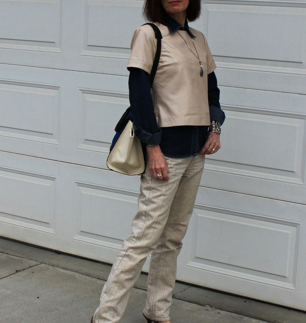#over40fashion #fashionover50 styling a leather top for Casual Friday | High Latitude Style | http://www.highlatitudestyle.com