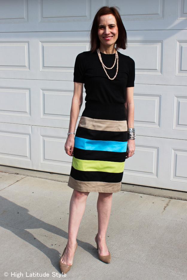 lifestyle blogger in custom made skirt