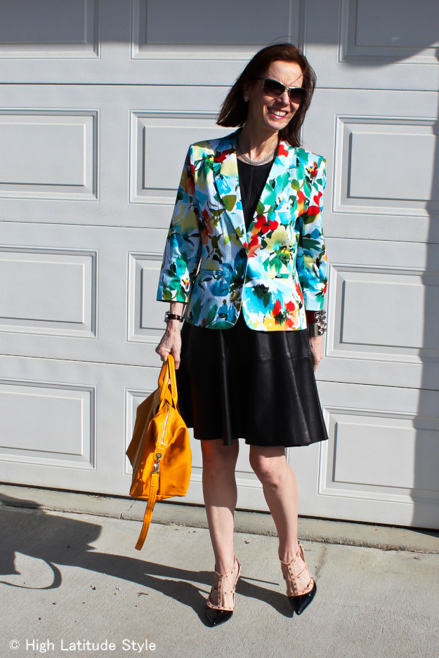 #fashionover40 fit-and-flare dress with floral blazer