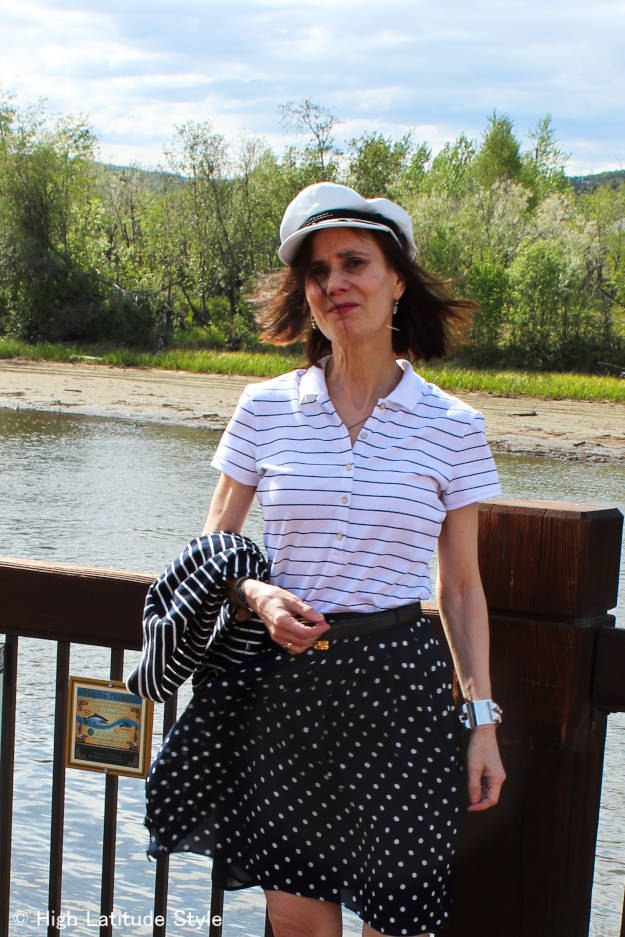 #fashionover40 mature maritime inspired weekend outfit with Greek fishermen's hat