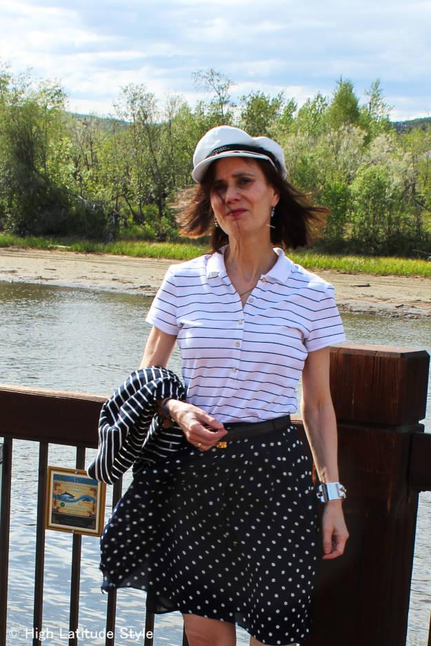 #styleover50 blue and white skirt