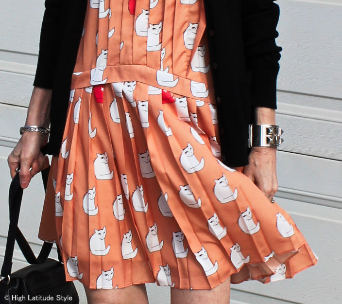 details of Victoria Victoria Beckham cat dress