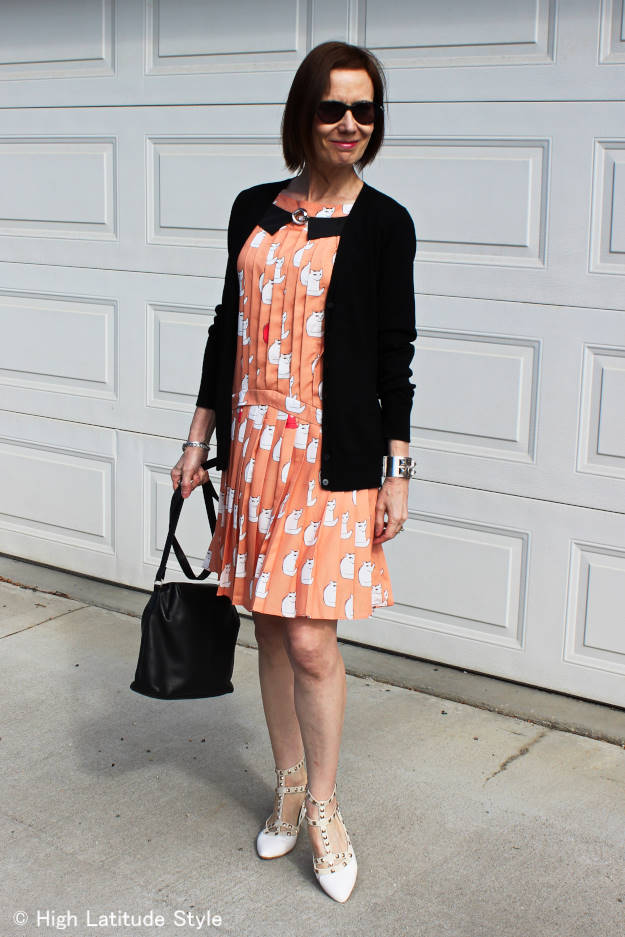#styleover40 Cat Dress with cardigan fot an evening of dinner and films