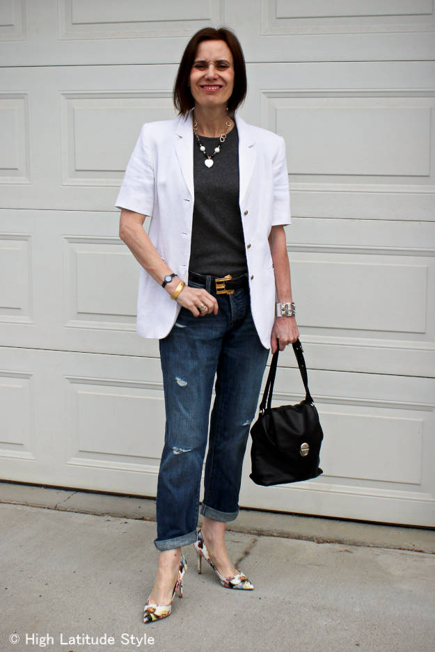 #maturestyle woman in polished style with distressed jeans