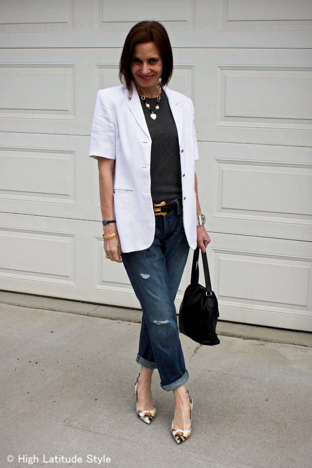 #midlifefashion woman looking posh chic in distressed BF jeans