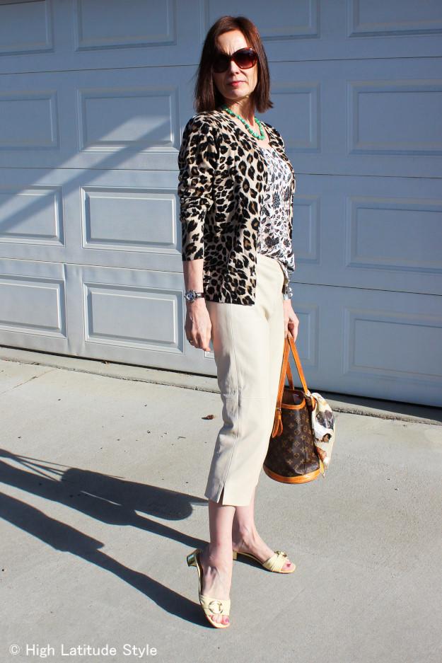 mature fashion blogger in a leopard Print Cardigan and Capri worn north of 60 degree north