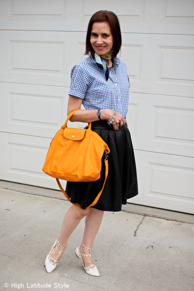 styling a full skirt and gingham shirt in a mature, but youthful way