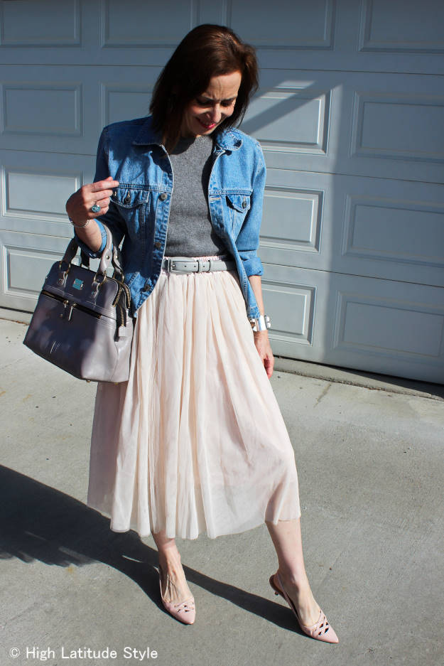 fashion blogger in ballet inspired color outfit with mesh skirt