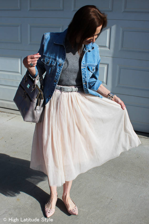 over 50 years old style blogger in nude mesh layer skirt