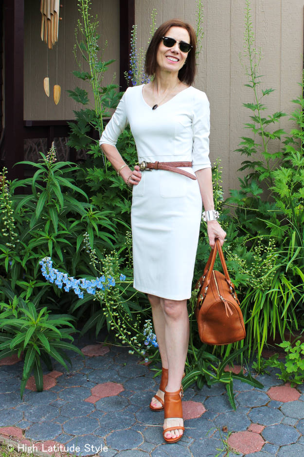 #LookbookStoreReview blogger of High Latitude style in a body concious sheath summer dress